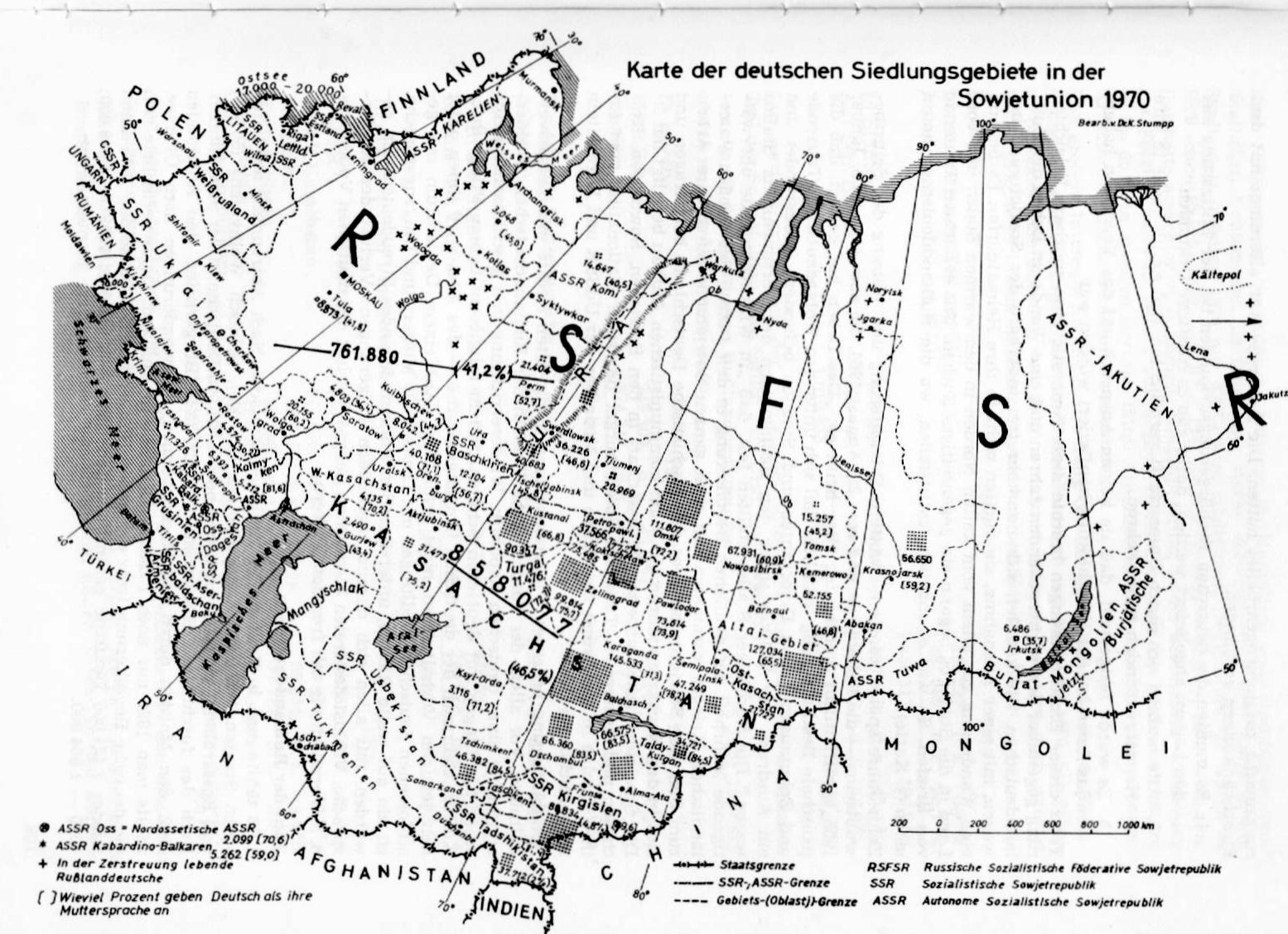 Russlanddeutsche Siedlungsgebiete