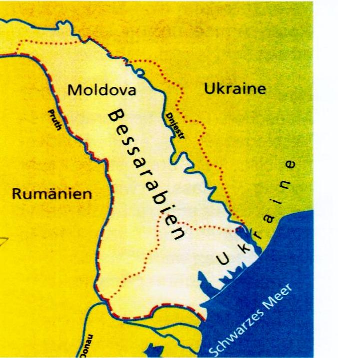 Geografische Karte, Bessarabien. Dnjestr und Pruth